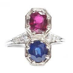Ruby Sapphire Platinum Two Stone Ring
