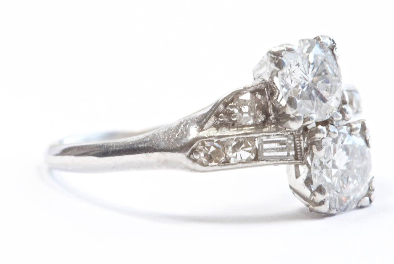Double Diamond Platinum Engagement Ring 2