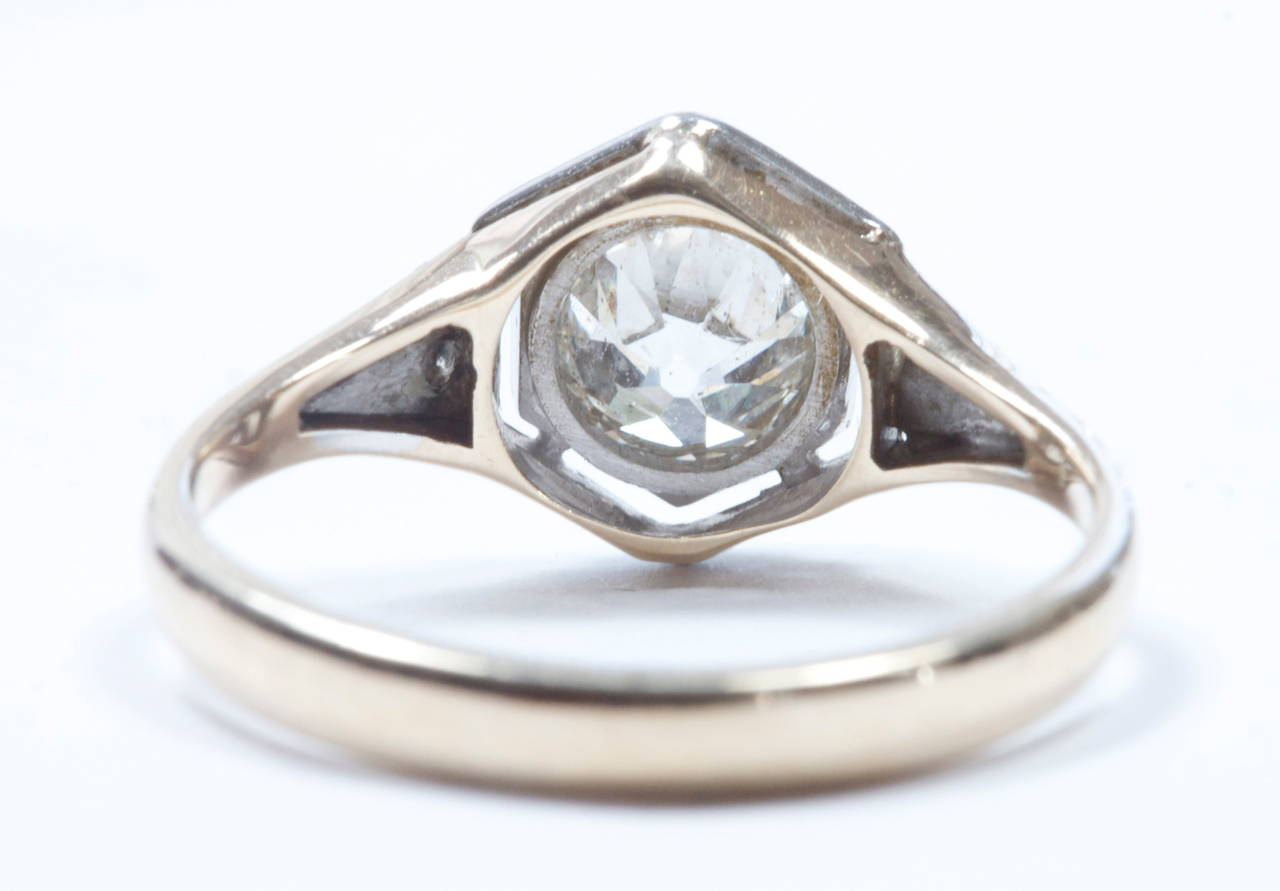 Old European Cut Diamond Engagement Ring In Excellent Condition For Sale In Beverly Hills, CA