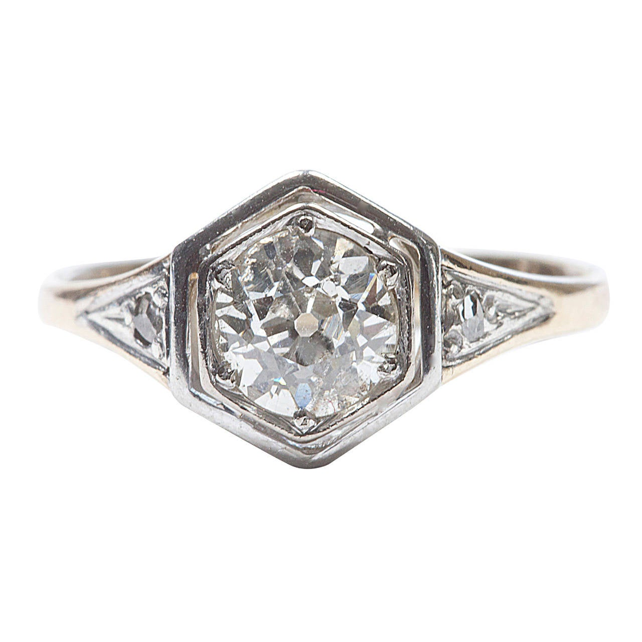 Old European Cut Diamond Engagement Ring For Sale