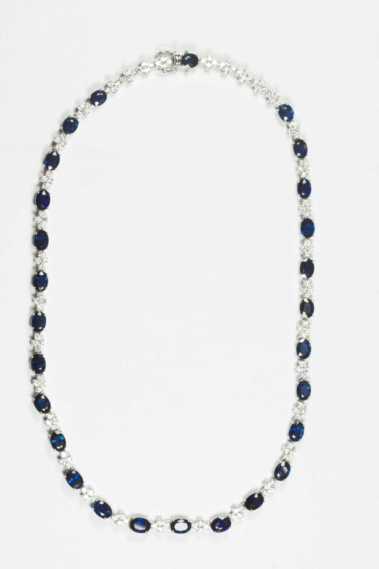 26 Carat Sapphire Diamond Gold Necklace at 1stdibs