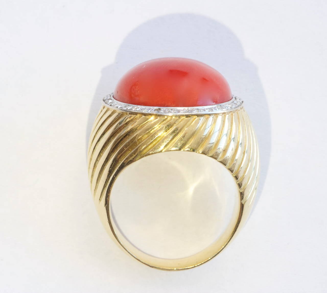 ox blood coral gold ring at 1stdibs