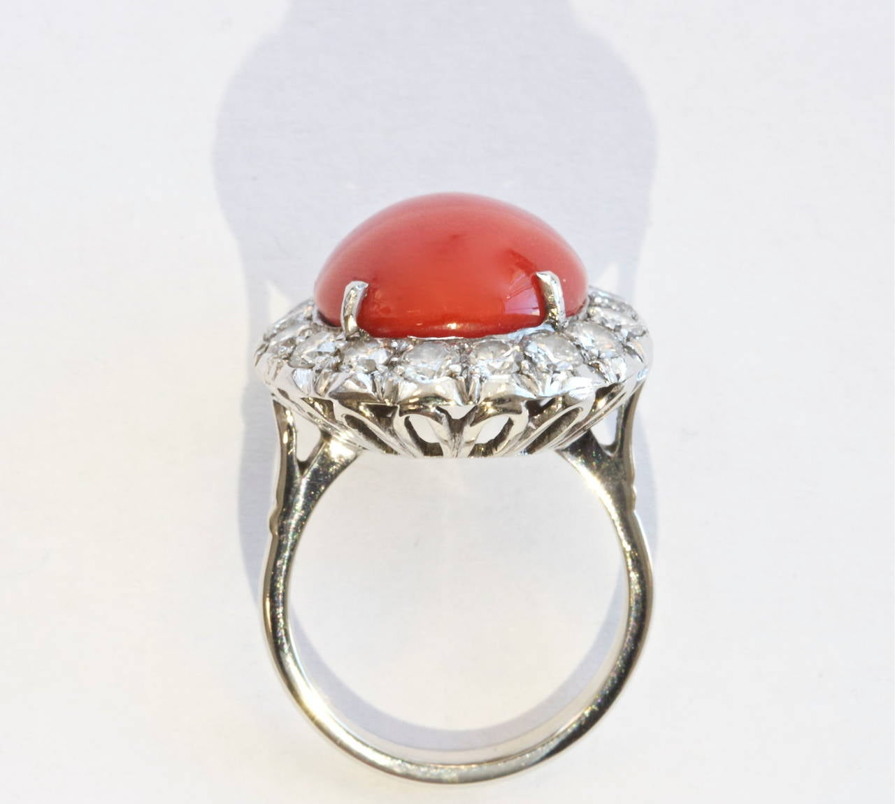 Ox Blood Coral Diamond Gold Ring For Sale At 1stdibs. Geologist Rings. Mathematical Rings. Light Wedding Rings. Pillow Top Wedding Rings