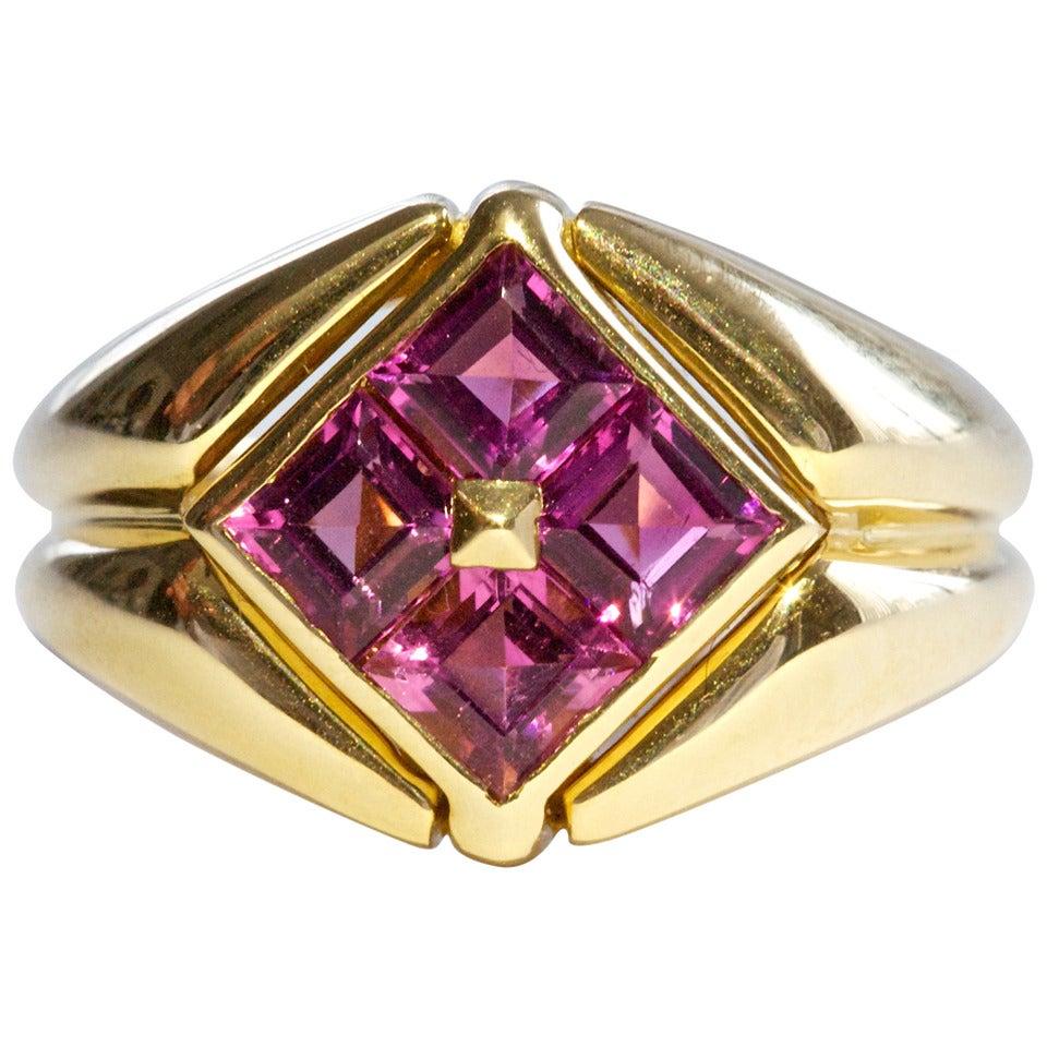 bulgari pink tourmaline gold ring at 1stdibs