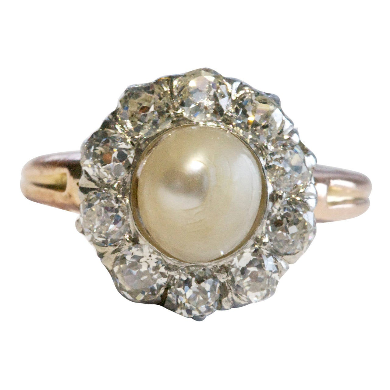 pearl gold engagement ring at 1stdibs