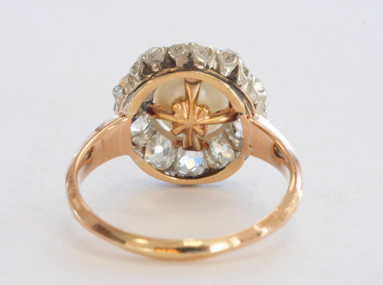 Natural Pearl Diamond Gold Engagement Ring At 1stdibs