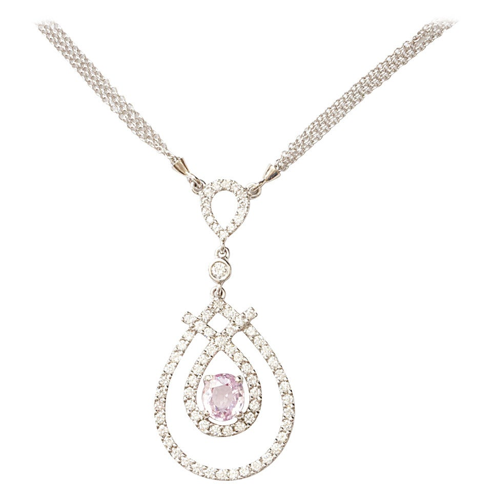 pink pendant sapphire gold and white set with diamonds necklace bezel products