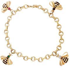Cartier Emerald Ruby Sapphire Diamond Gold Bumble Bee Charm Bracelet