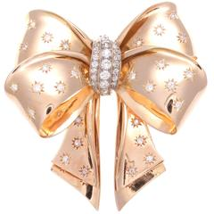 Large French Retro Diamond Gold Brooch