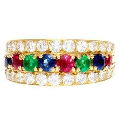 Van Cleef & Arpels Emerald Ruby Sapphire Diamond Gold Ring