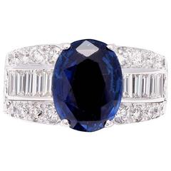 French 4.50 Carat Sapphire Diamond Gold Ring