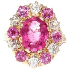 French Belle Epoque Vivid Pink Rubelite Sapphire Diamond Gold Ring
