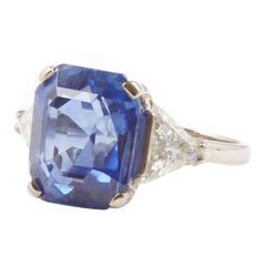 11.76 Carat Untreated Ceylon Sapphire Diamond Platinum Ring