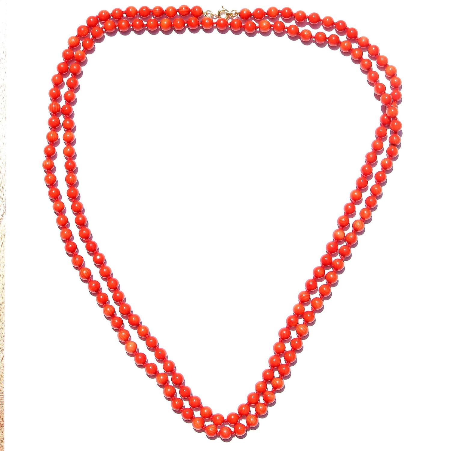coral bead gold necklace for sale at 1stdibs