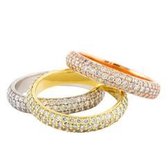 Multihued Diamond and Gold Ring Set