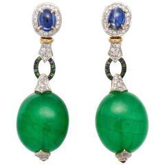 Large Green Quartz Sapphire Diamond Gold Platinum Earrings