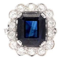 French Art Deco Sapphire Diamond Platinum Ring