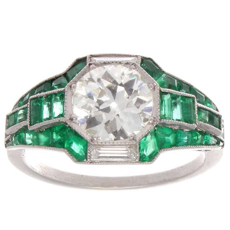 special deco emerald platinum engagement ring