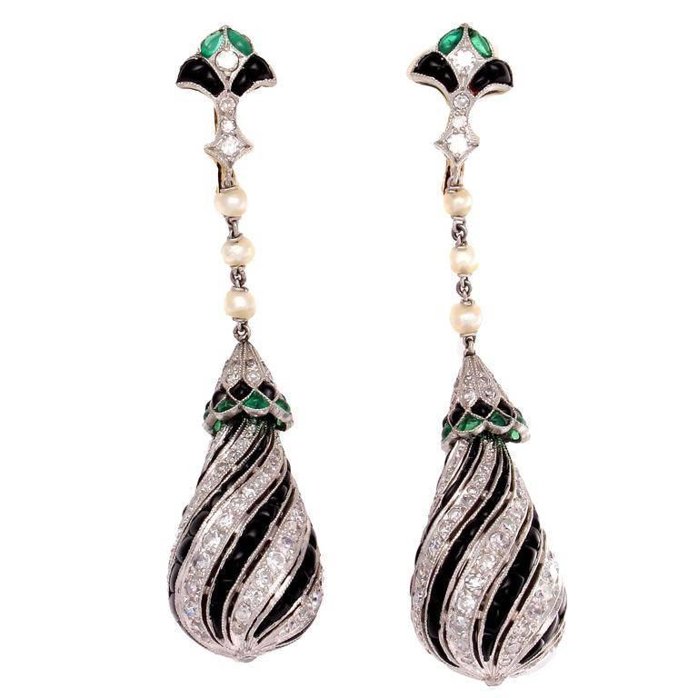 Onyx Diamond Emerald Platinum Earrings