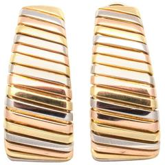 Large Bulgari Tricolor Gold Hoop Earrings
