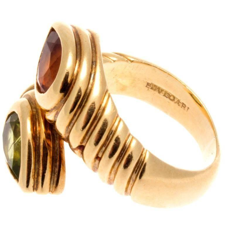 Bulgari Two Stone Gold Ring For Sale at 1stdibs