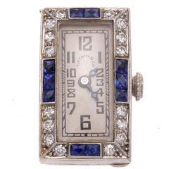 Tiffany & Co. Art Deco Sapphire Diamond Platinum Watch Clip