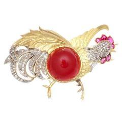 Carnelian Diamond Ruby Gold Rooster Brooch