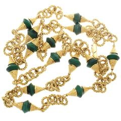 Tiffany & Co. Italy Malachite Textured Gold Necklace