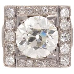 French Art Deco 4.46 Carat GIA Diamond Platinum Ring