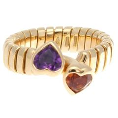 Bulgari Two Stone Heart Gold Ring