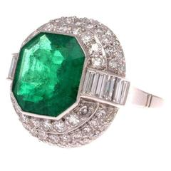 5.45 Carat AGL Certified Colombian Emerald Diamond Platinum Ring