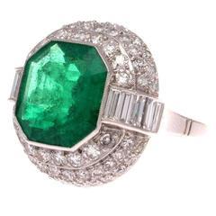 5.45 Carat AGL Certified Colombian Emerald Diamond Platinum Ring