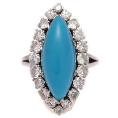 Turquoise Diamond Platinum Ring