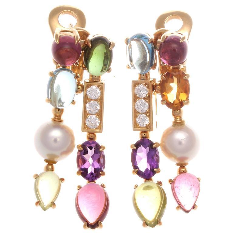Bulgari Allegra Gemstone Diamond Gold Earrings At 1stdibs