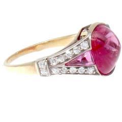 Art Deco Natural 5 Carat Burma No Heat Ruby Diamond Gold Ring