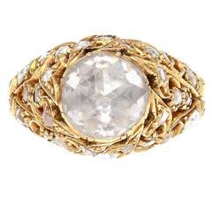 Turkish Rose Cut Diamond Gold Engagement Ring
