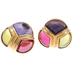 Bulgari Tourmaline Peridot Amerthyst Gold Earrings