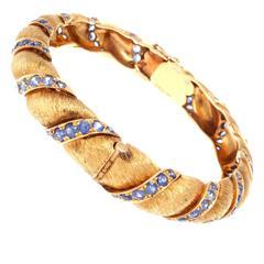 Ruser Sapphire Gold Bangle Bracelet