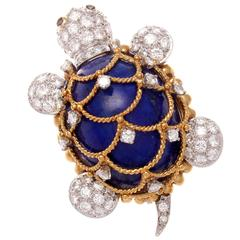 Hammerman Lapis Diamond Sapphire Gold and Platinum Turtle Brooch