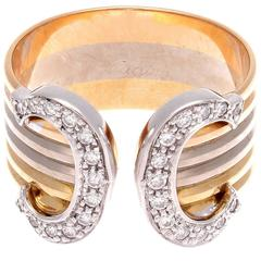 Cartier Double C Diamond Gold Ring