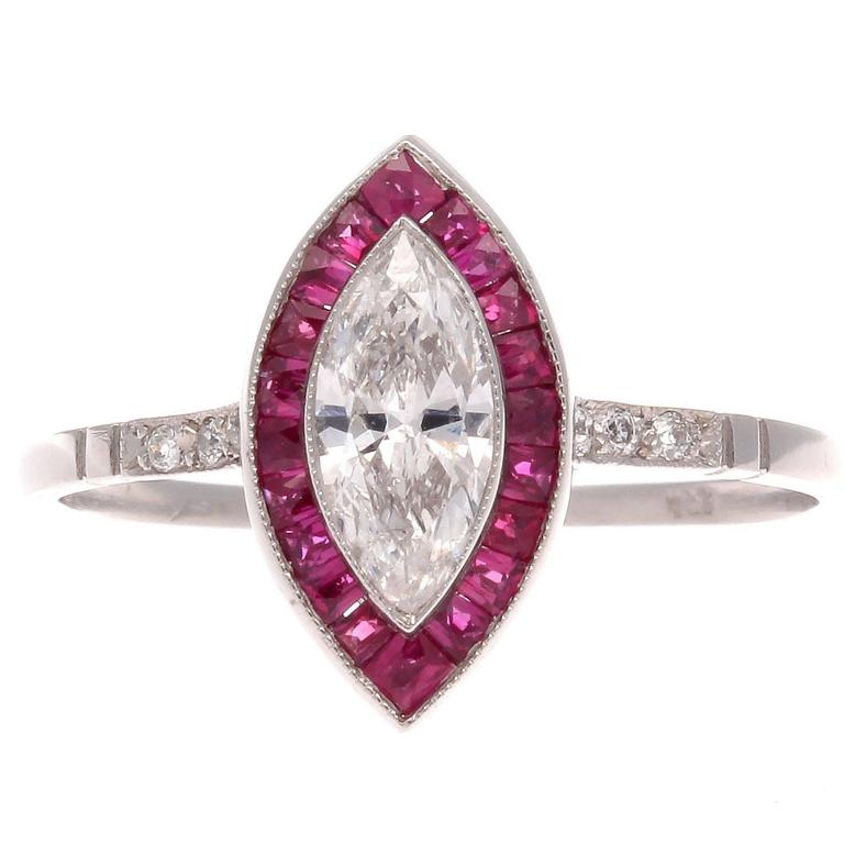 ruby platinum engagement ring for sale at 1stdibs