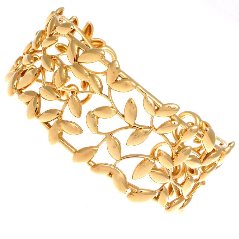 212132e4a Tiffany and Co. Paloma Picasso Olive Leaf Gold Cuff at 1stdibs