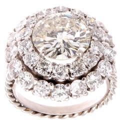 3.82 Carats Diamonds Platinum Ring