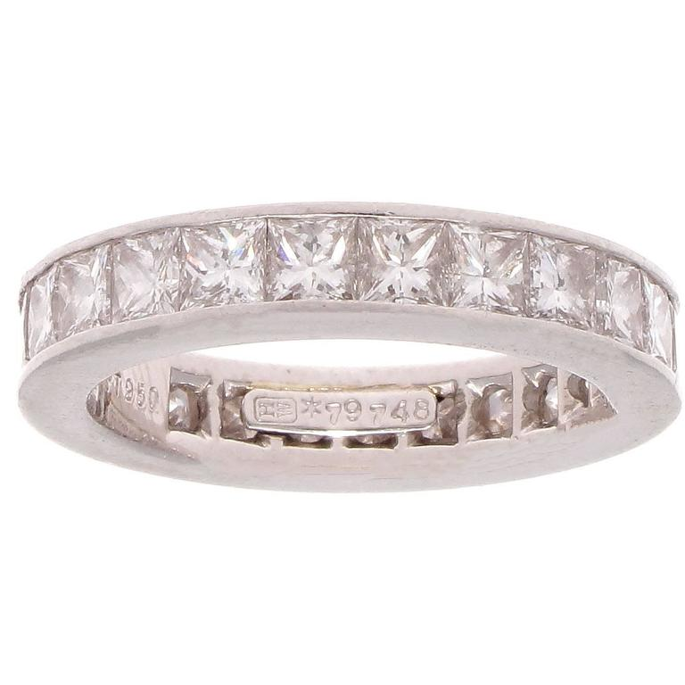 Harry Winston 5 Carat Princess Cut Diamond Platinum Eternity Ring At 1stdibs