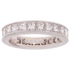 Harry Winston 5 Carat Princess Cut Diamond Platinum Eternity Ring