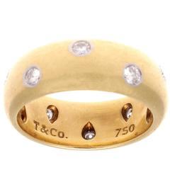 Tiffany & Co. Wide Etoile Diamond Gold Platinum Ring