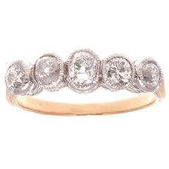 Belle Époque Five-Stone Diamond Gold Platinum Ring