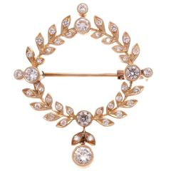 Diamond Gold Floral Wreath Brooch