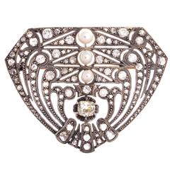Art Deco Pearl Diamond Platinum Brooch