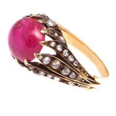 Victorian Burma No Heat Cabochon Ruby Diamond Gold Ring